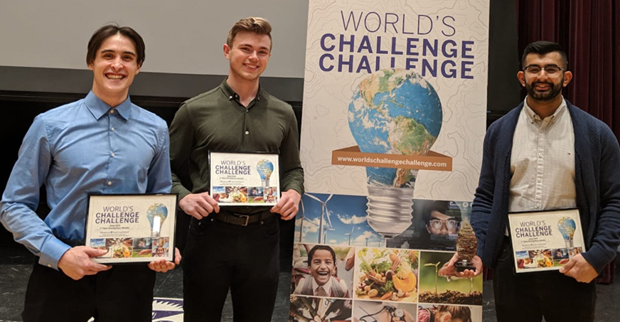 World's Challenge Challenge winners holding prizes